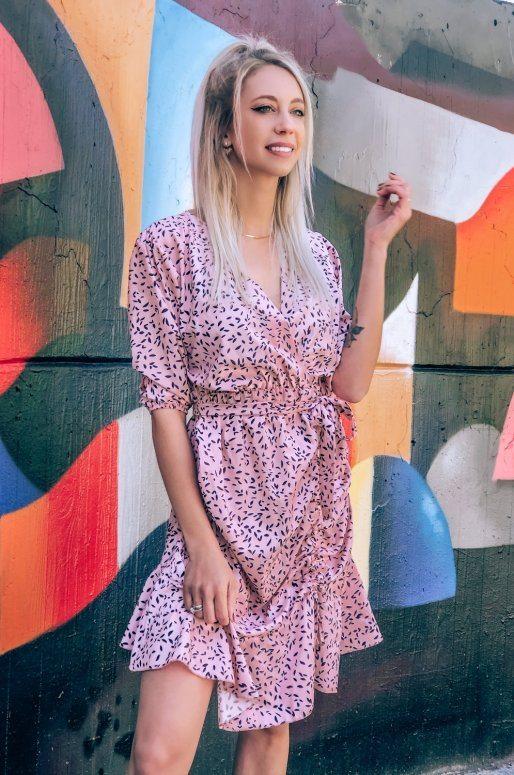 Mini robe de couleur rose, imprimé abstrait