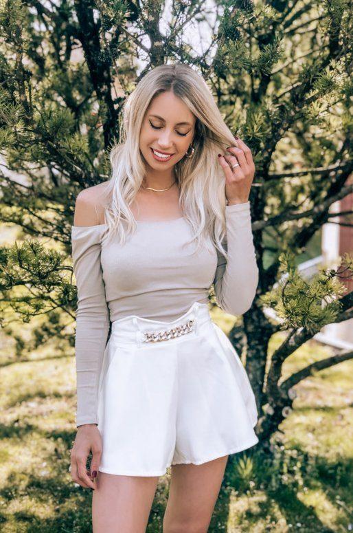 Short blanc chaîne