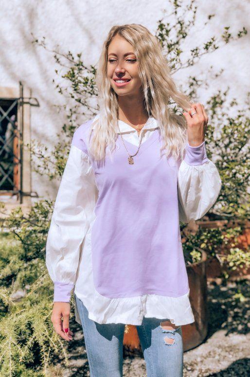 Robe chemise de couleur blanc & Lila