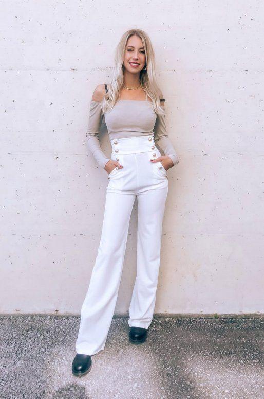 Pantalon blanc taille haute avec boutons dorés