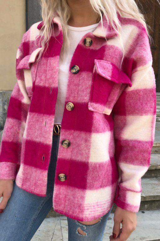 Surchemise à carreaux de couleur rose