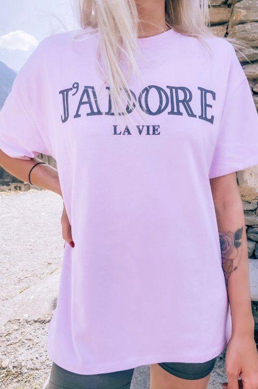 T-shirt rose avec inscription j'adore la vie