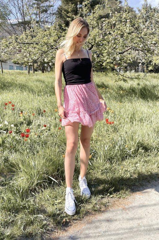 Jupe taille haute imprimé pois rose