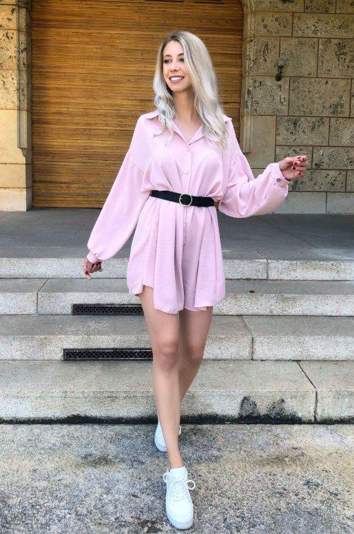 Robe chemise de couleur rose