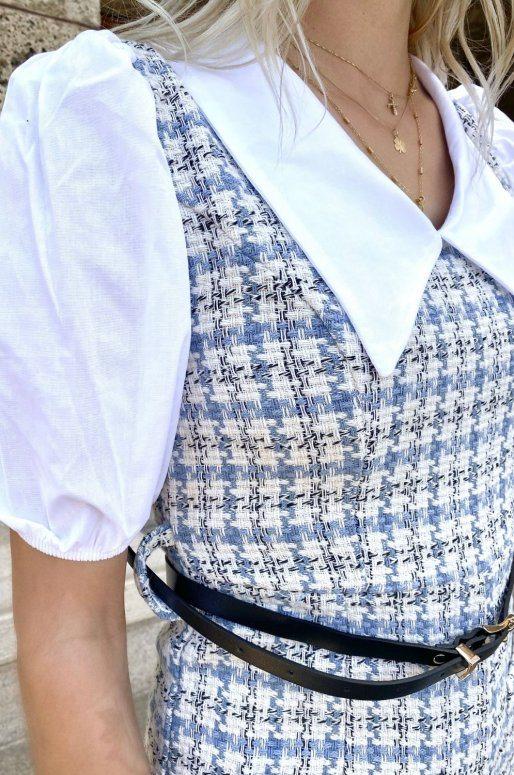 Combishort bleu ciel motif tartan
