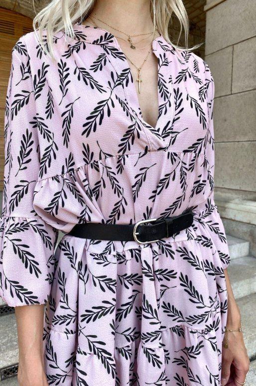 Robe rose à imprimé fleuri, coupe ample