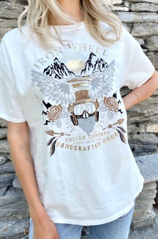 T-shirt blanc Iron Wheels