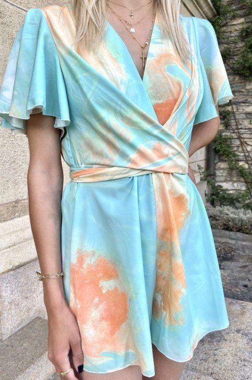 Combishort orange et turquoise