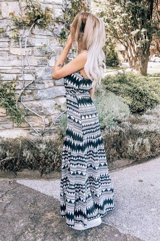 Longue robe bohème, imprimé noir et blanc