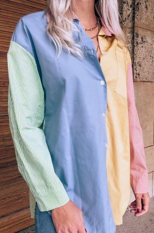 Chemise patchwork de couleur bleu, jaune et vert