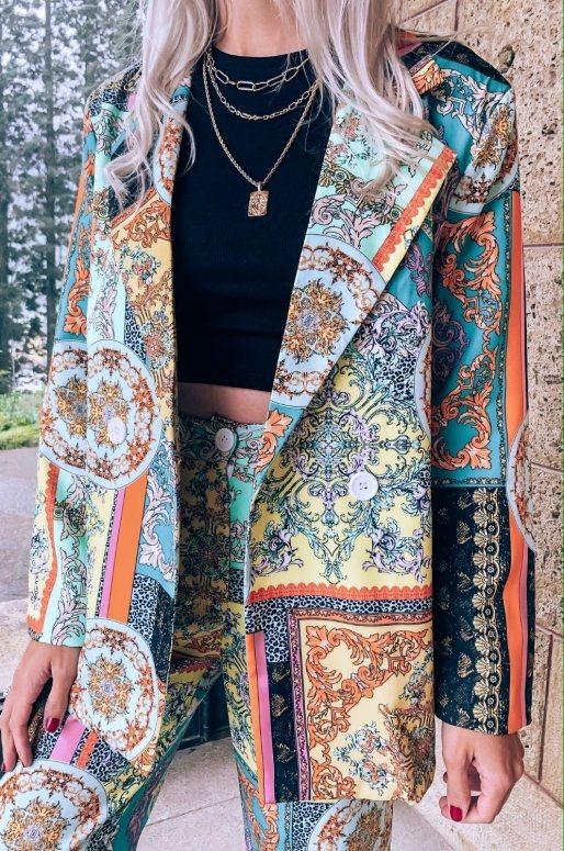 Ensemble blazer pantalon imprimé patchwork