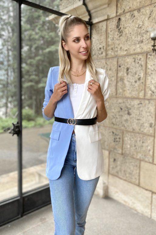 Blazer bicolore de couleur blanc et bleu ciel
