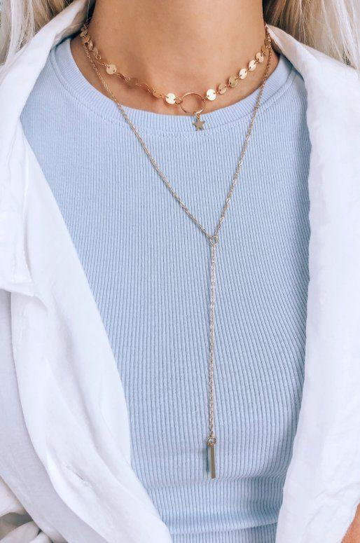 Collier multirangs avec pendentif barre & étoile
