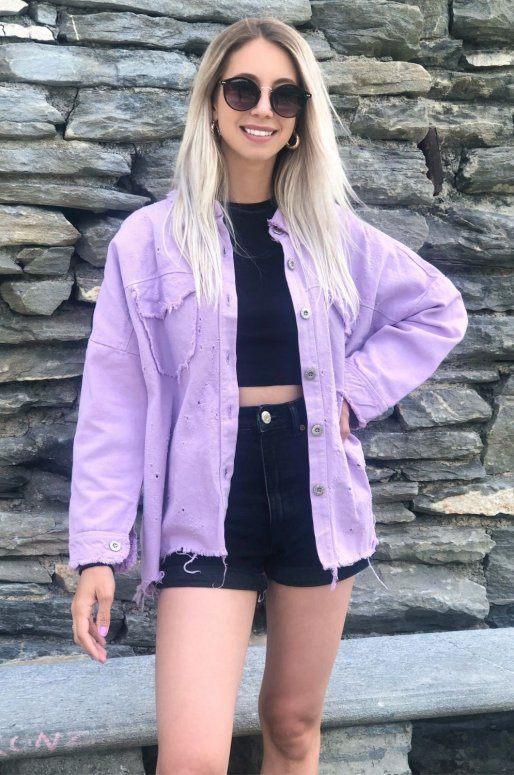 Veste en jean de couleur Lila