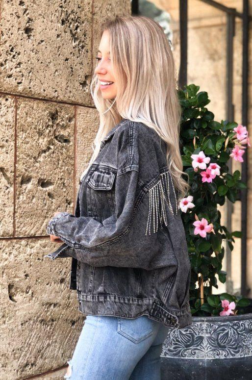Veste en jean Oversize avec franges