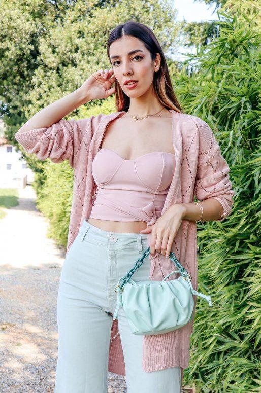 Long cardigan de couleur rose