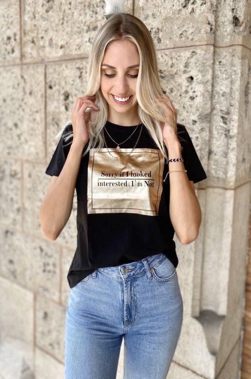 T-shirt noir et doré à message