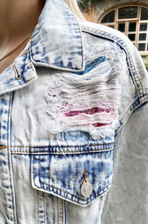 Veste en jean Oversize de style destroy avec sequins