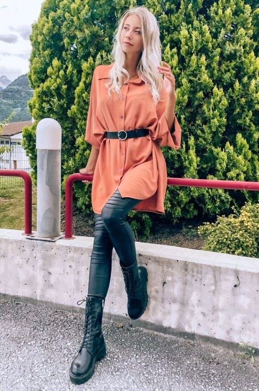 Robe chemise de couleur terracotta