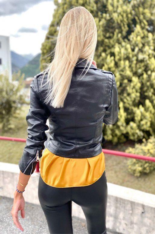 Perfecto en simili cuir de couleur noir