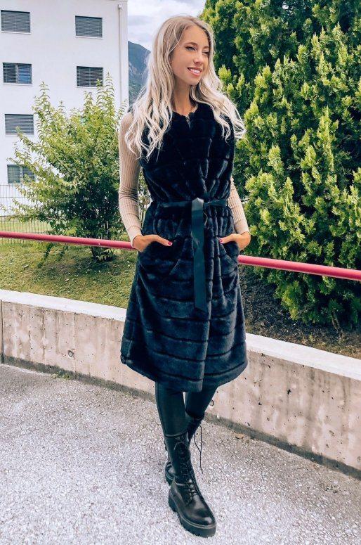 Long gilet en fausse fourrure de couleur noir