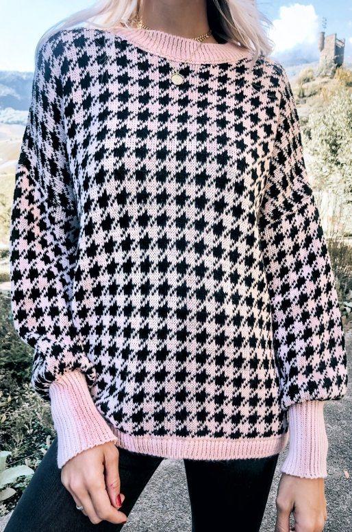 Pull imprimé pied de poule de couleur rose et noir
