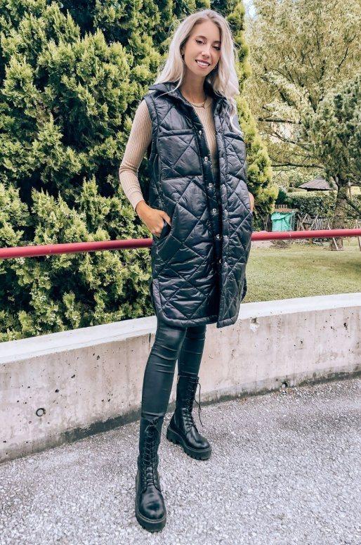 Longue doudoune sans manches de couleur noir