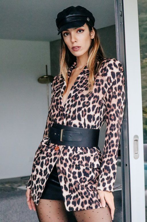 Long blazer imprimé léopard