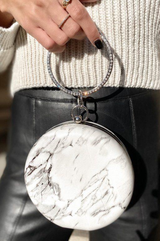 Pochette ronde effet marbre avec anse ronde