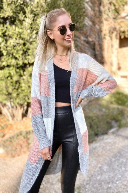 Long cardigan à rayures de couleur gris, blanc et rose
