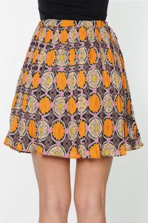 Mini jupe taille haute, imprimé géométrique